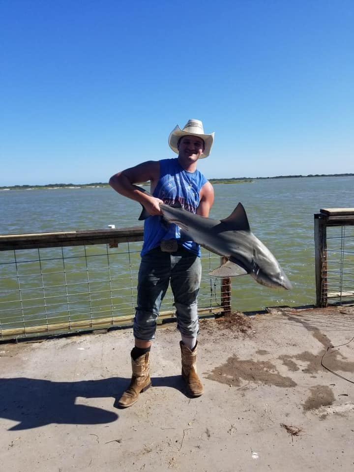Nathan was working today getting things ready to reopen pier and of course had to fish